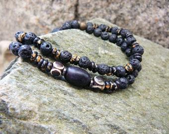 Mens Bracelet, Surfer Bracelet Set, Speckled Bone, Beach Bracelet For Men, Mens Beaded Bracelet, Slim Style, Stacking, Surfing, Mens Jewelry