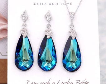 Jewelry Set - Swarovski Bermuda Blue Teardrop Crystal Necklace and Earrings, Brides Necklace, Bridal, Bridesmaids E334