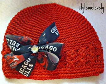Chicago Bulls Baby Girl Boutique Bow Crocheted Hat