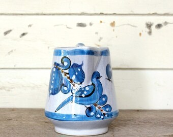 blue bird pitcher made in Mexico, vintage pottery pitcher, Tonala Mexican pottery pitcher, blue home decor decorative pitcher vase