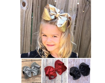 "6""+ Gold Hair Bows, Back to School Bow, Gold Bows, Glitter Bows, Big Southern Bows. Gold Hairbows, Silver Hair Bow, Red Hair Bow,  Black Bow"