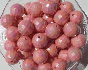 20mm 10CT. AB Salmon Faceted Gumball Beads, E23