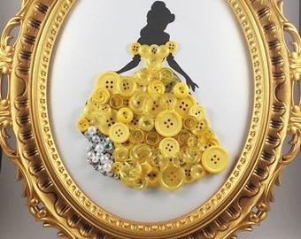 Button Art - Princess Art - Beauty and the Beast - Belle