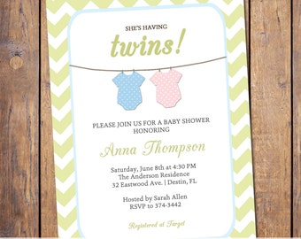 Twins Baby shower Invitation chevron, gender neutral twins, boy girl twins, light green blue and pink, digital, printable file (item24a)