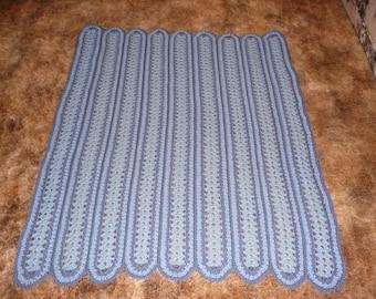 Cowboy Demin Blues crochet afghan afghans throw -baby blanket- Nice Baby Blanket