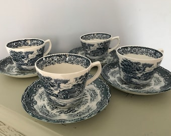 Vintage China Four Teacups And Saucers from England 1950s Manufacturer: W.H. Grindley & Co.