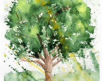 Tree, Watercolor Tree, JPEG, Watercolor Painting