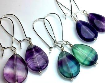 Fluorite Earrings, Sterling silver Dangle Earrings Gemstone Earrings, Statement Jewelry Boho Jewelry Purple Green drop Earrings Mothers Gift