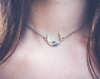 Crescent Moon Face Chain Choker OR Necklace