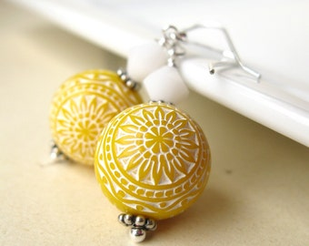 Sunny day Earrings  LAST PAIR Vintage lucite and crystal in sterling silver