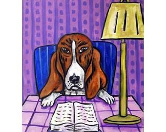 Basset Hound Reading a Book Dog Art Print 11X14 jschmetz MODERN pop folk ART