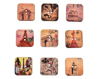 buttons 10 wood Historical Monuments