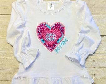 girls valentine shirt, toddler, baby, personalized valentine shirt for girls, heart, boutique ruffle shirt, bodysuit, monogram shirt