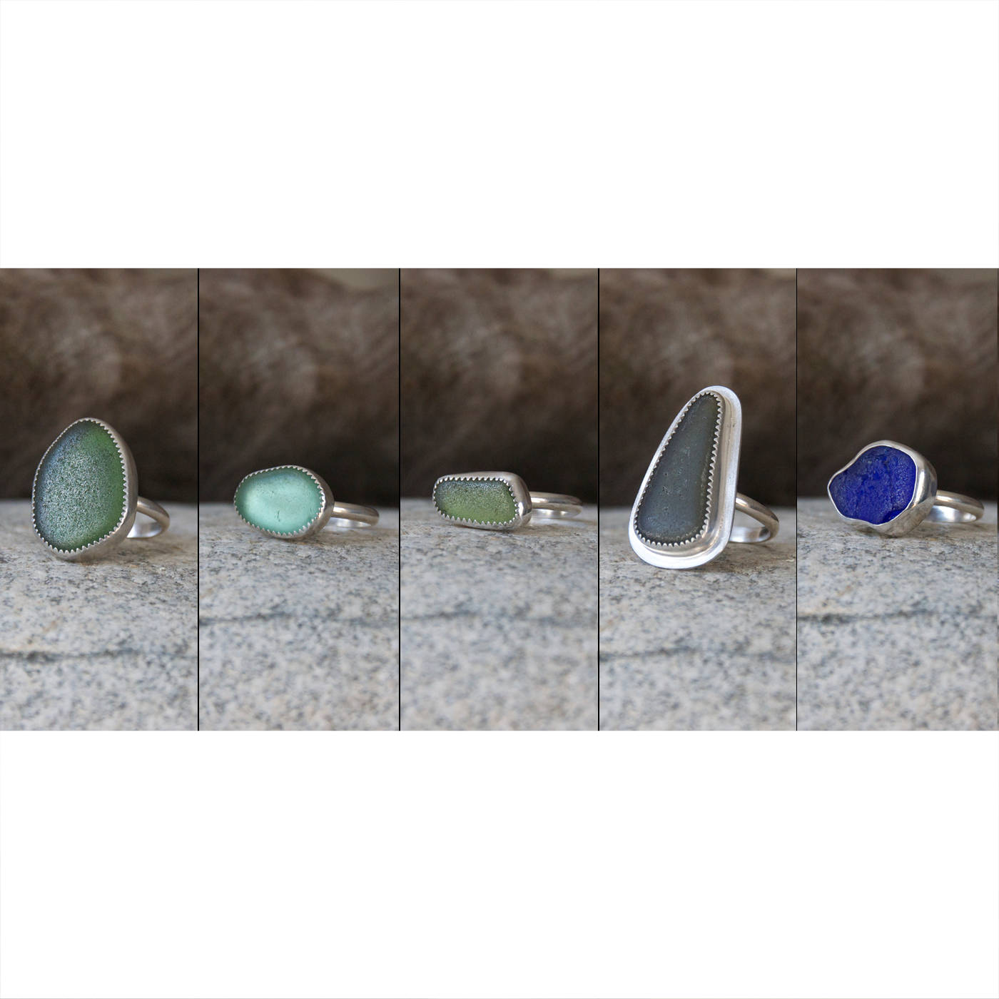 Ready To Ship Handcrafted Sea Glass Rings Genuine The Wet Brush Gemstone Abalone Zoom