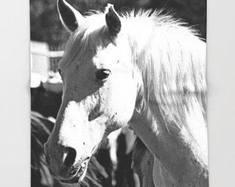 White Horse Throw Blanket, Horse Blanket, Horse Gifts, Horse Decor, Horse Lover Gift, Fleece Blanket, Soft Blanket, Black and White Blanket