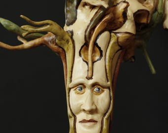 Hand carved sculpture wood alibustre face 1