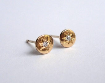 Star Set Diamond Disc Studs, Diamond Studs, 14K Yellow Gold Studs
