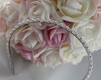 Swarovski Crystal Bridal Headband, Swarovski Headband, Pearl Crystal Wedding Hair Piece, Wedding Headband, Bridal Headband, Hair Accessory