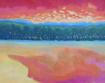 Peach-Colored Pond Original Acrylic Painting on Canvas