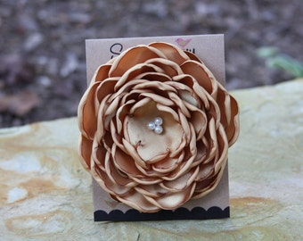 34 Colors Large Satin Flower Pin, Gold Satin Flower Pin