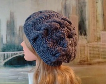 """Women's Knitted Hat """"Erin-II' slouch cabled winter hat, Blue knit hat, teen knitted hat, slouchy beanie."""
