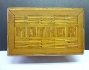 Vintage Prison Tramp Folk Art MATCHSTICK Box MOTHER Day Valentine w Mirror Mother's Day