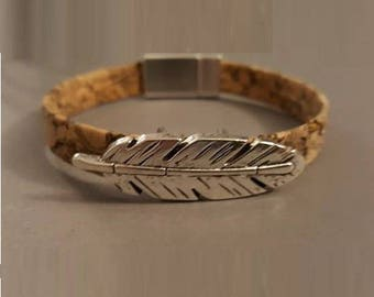 "Mens bracelet creation ""Feather"" Cork"