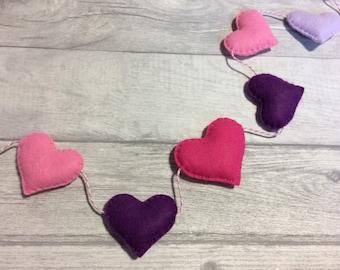 Felt heart garland, nursery bunting , heart bunting, new home gift, valentines heart decoration, Mother's Day heart bunting, nursery decor