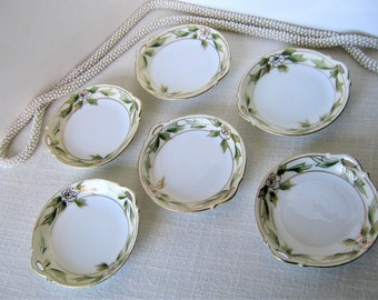 6) NIPPON BUTTER PATS  / Butter Chips / Cup Plates / Nut Dishes Vintage Porcelain Antique China Green Leaves & Flowers w Gilt Mark 114