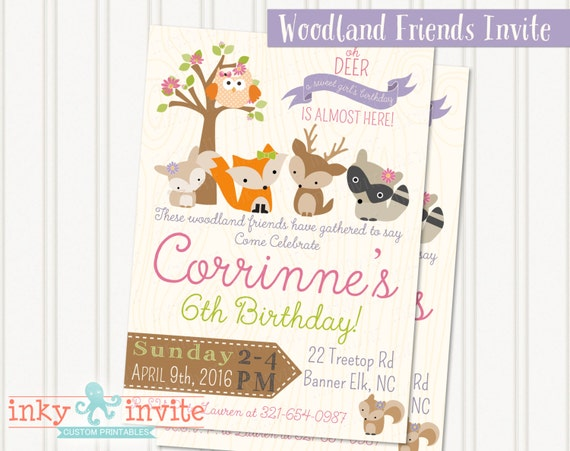 Girls woodland friends birthday party invitation girl like this item filmwisefo Gallery