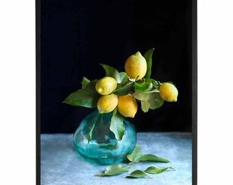Food Photography, Kitchen printable Art,Food Art print,Lemon bunch in a vase print,food print,Instant Download,Digital Photo