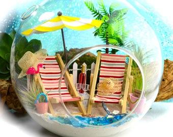 """Beach Terrarium Kit ~ 8"""" Air Plant Terrarium ~ Coastal Living Beach Decor ~ BFF Beach Chairs ~ Umbrella ~ Beach Bucket and Ball ~ Gift 4 Her"""