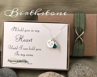 Tiny Baby Memorial Necklace - Swarovski Crystal Sterling Silver loss of a baby feet angel wing miscarriage jewelry I'll hold you in my heart