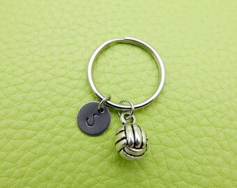 Volleyball initial Keychain personnalized stainless steel monogram Keyring