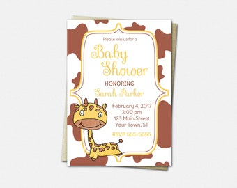 Giraffe Invitations - Baby Shower Invitations - Printed or Printable   giraffes boy girl cute invites