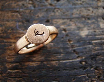 Personalized ring, initial ring, personalized pinky ring, stackable ring, rose gold copper color