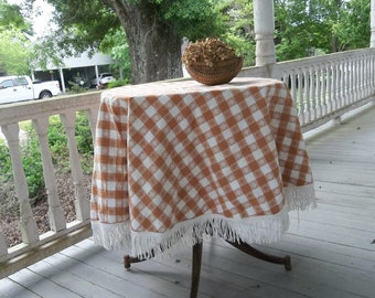 High Quality Harvest Gold Checked Tablecloth With Fringe Vintage Picnic Tablecloth Round Table  Cloth RV Decor Retro Camper