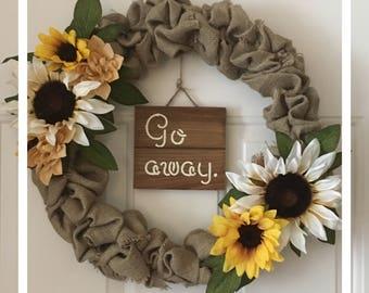 Burlap Wreath w Sunflowers