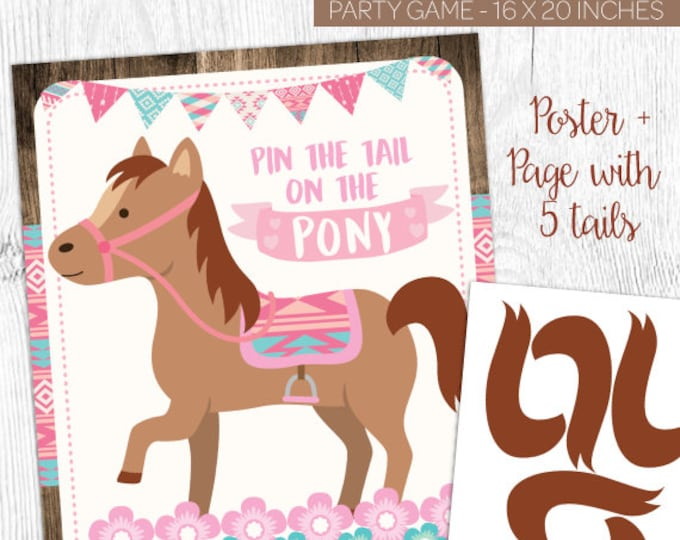 Pin the tail on the pony, Pin the tail on the horse, Pony Birthday, Cowgirl Birthday Decorations, Instant download