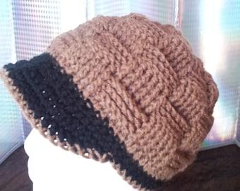 Women's Crochet Brown Winter Hat-Cap-Beanie-Teen-Adult-Girls-