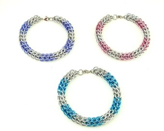 Chainmaille Jewellery, Pastel Full Persian Chainmail Bracelet, choose your color