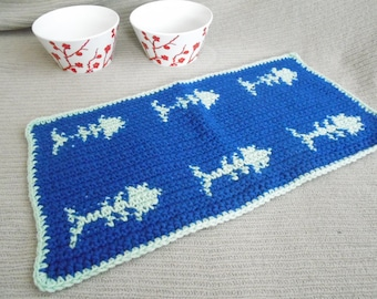 Cat Placemat, Blue & Green