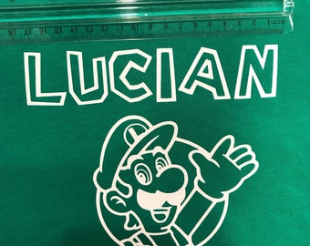 Luigi personalized name iron on decals DIY