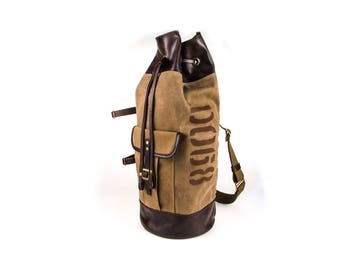 SALE 10% Waxed canvas and leather duffel bag / Beige bag / Large bag / Army duffel bag / Men's bag / Travel bag / Christmas gift / Mens gift