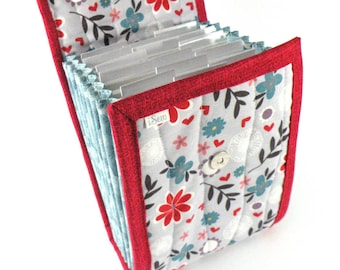 Circular Needle Case - Lilac and Red Floral - Accordion Style Needle Holder Needle Wallet Circular Needle Organizer Organiser Daisy
