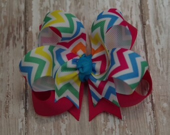 """Hair Bow Boutique Bright Chevron Layered 4"""" Hairbow"""