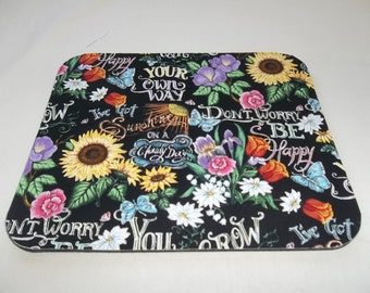 Mouse Pad, Mousepad, Sunflower, Sun Flowers, Butterfly, Mouse Pads, Desk Accessory, Mouse Mat, Office Decor, Handmade, Computer