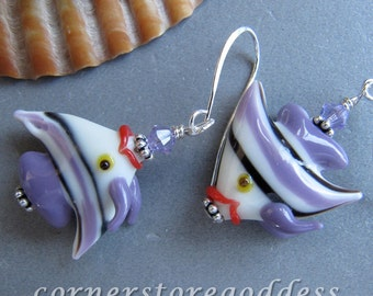 Lampwork Glass Lavender Angel Fish Earrings by Cornerstoregoddess