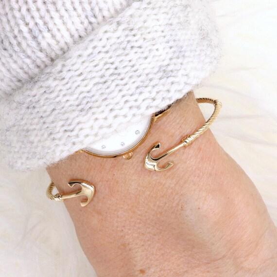 nautical anchor women gold plated Bangle Bracelet
