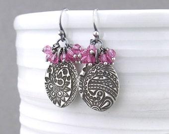 Pink Earrings Drop Earrings Paisley Earrings Silver Jewelry Crystal Jewelry Beaded Jewelry Mother's Day Gift Idea for Women - Lily